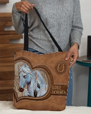 Love Horses Leather Pattern Print All-over Tote aos-all-over-tote-lifestyle-front-10