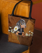 Lovely Dachshund Leather Pattern Print All-over Tote aos-all-over-tote-lifestyle-front-02