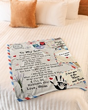 """To My Son- Mom Small Fleece Blanket - 30"""" x 40"""" aos-coral-fleece-blanket-30x40-lifestyle-front-01"""