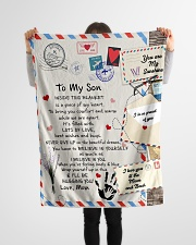 """To My Son- Mom Small Fleece Blanket - 30"""" x 40"""" aos-coral-fleece-blanket-30x40-lifestyle-front-14"""