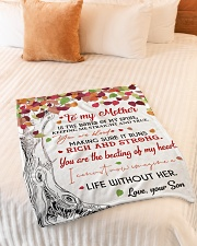 """To My Mother - Son Small Fleece Blanket - 30"""" x 40"""" aos-coral-fleece-blanket-30x40-lifestyle-front-01"""