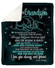 To My Grandson Sherpa Fleece Blanket tile