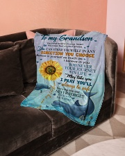 """To My Grandson Small Fleece Blanket - 30"""" x 40"""" aos-coral-fleece-blanket-30x40-lifestyle-front-05"""