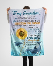 """To My Grandson Small Fleece Blanket - 30"""" x 40"""" aos-coral-fleece-blanket-30x40-lifestyle-front-14"""
