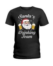 Santa Drinking Team Ladies T-Shirt thumbnail