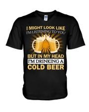 Drinking A Cold Beer V-Neck T-Shirt thumbnail