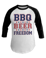 BBQ BEER FREEDOM Baseball Tee thumbnail