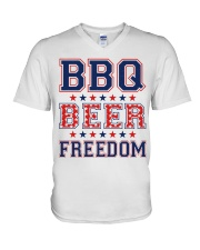 BBQ BEER FREEDOM V-Neck T-Shirt thumbnail