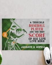 "Personalized Baseball Couple Live Here Doormat Doormat 22.5"" x 15""  aos-doormat-22-5x15-lifestyle-front-06"