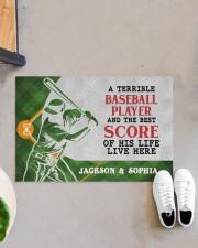 "Personalized Baseball Couple Live Here Doormat Doormat 22.5"" x 15""  aos-doormat-22-5x15-lifestyle-front-07"