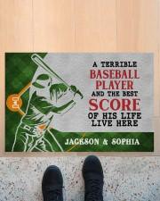 "Personalized Baseball Couple Live Here Doormat Doormat 22.5"" x 15""  aos-doormat-22-5x15-lifestyle-front-10"