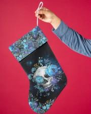 Skull Blue Flower Christmas Stocking Christmas Stocking aos-christmas-stocking-lifestyles-01