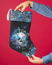 Skull Blue Flower Christmas Stocking Christmas Stocking aos-christmas-stocking-lifestyles-02