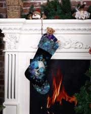 Skull Blue Flower Christmas Stocking Christmas Stocking aos-christmas-stocking-lifestyles-06