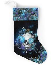 Skull Blue Flower Christmas Stocking Christmas Stocking back