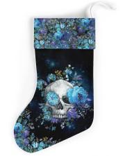 Skull Blue Flower Christmas Stocking Christmas Stocking front
