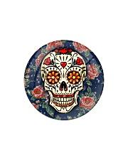 Rose Skull Ornament Circle Magnet tile