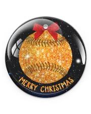 Baseball Christmas Circle ornament - single (porcelain) front