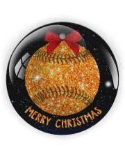 Baseball Christmas Circle Ornament (Wood tile