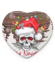 Skull - Feliz Navidad Heart Ornament (Porcelain) tile