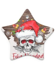 Skull - Feliz Navidad Star Ornament (Porcelain) tile