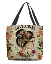 Book - Just A Girl All-over Tote front