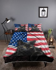 Black Cat American Flag Quilt Bed Set Queen Quilt Bed Set aos-queen-quilt-bed-set-lifestyle-front-01