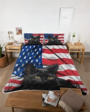 Black Cat American Flag Quilt Bed Set Queen Quilt Bed Set aos-queen-quilt-bed-set-lifestyle-front-04