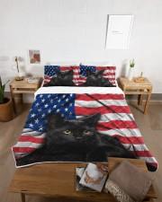 Black Cat American Flag Quilt Bed Set Queen Quilt Bed Set aos-queen-quilt-bed-set-lifestyle-front-06