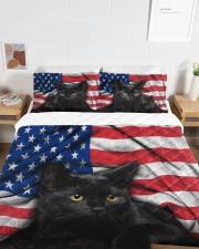 Black Cat American Flag Quilt Bed Set Queen Quilt Bed Set aos-queen-quilt-bed-set-lifestyle-front-06a