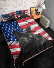 Black Cat American Flag Quilt Bed Set Queen Quilt Bed Set aos-queen-quilt-bed-set-lifestyle-front-08