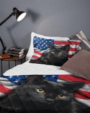Black Cat American Flag Quilt Bed Set Queen Quilt Bed Set aos-queen-quilt-bed-set-lifestyle-front-09