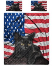 Black Cat American Flag Quilt Bed Set Queen Quilt Bed Set front