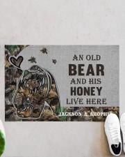 """Custom Camo Old Bear And This Honey Doormat Doormat 22.5"""" x 15""""  aos-doormat-22-5x15-lifestyle-front-06"""