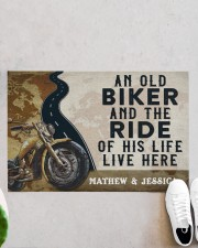 """Personalized An Old Biker Doormat Doormat 22.5"""" x 15""""  aos-doormat-22-5x15-lifestyle-front-06"""