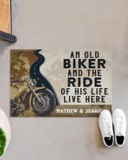 """Personalized An Old Biker Doormat Doormat 22.5"""" x 15""""  aos-doormat-22-5x15-lifestyle-front-07"""