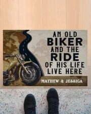 """Personalized An Old Biker Doormat Doormat 22.5"""" x 15""""  aos-doormat-22-5x15-lifestyle-front-10"""