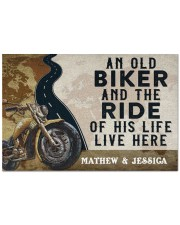 "Personalized An Old Biker Doormat Doormat 22.5"" x 15""  front"