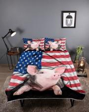 Pig American Flag Quilt Bed Set Queen Quilt Bed Set aos-queen-quilt-bed-set-lifestyle-front-01