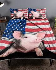 Pig American Flag Quilt Bed Set Queen Quilt Bed Set aos-queen-quilt-bed-set-lifestyle-front-01a
