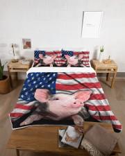 Pig American Flag Quilt Bed Set Queen Quilt Bed Set aos-queen-quilt-bed-set-lifestyle-front-06
