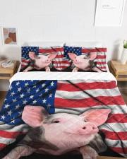 Pig American Flag Quilt Bed Set Queen Quilt Bed Set aos-queen-quilt-bed-set-lifestyle-front-06a
