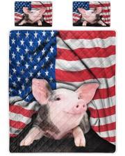 Pig American Flag Quilt Bed Set Queen Quilt Bed Set front