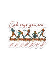 God Says You Are Softball  Sticker - Single (Horizontal) front