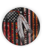 Native Feather Circle ornament - single (wood) front