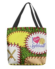 I Love Softball  All-over Tote front