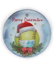 Softball - Merry Quarantine 2020 Ornament Circle Ornament (Wood tile