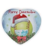 Softball - Merry Quarantine 2020 Ornament Heart Ornament (Wood) tile