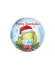 Softball - Merry Quarantine 2020 Ornament Circle Magnet tile