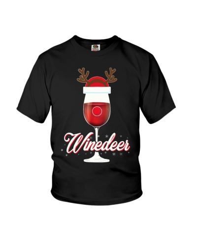Winedeer Christmas Wine T-Shirt Reindeer Red Wine